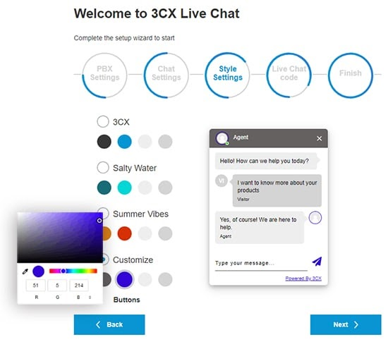 live chat theme selector