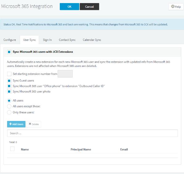 v18 alpha 3 ms 365 user sync interface
